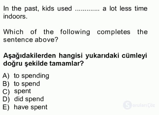 İngilizce III Tek Ders Sınavı 14. Soru