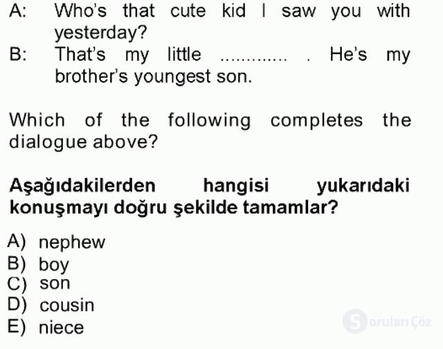 İngilizce III Tek Ders Sınavı 15. Soru
