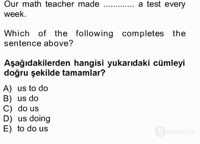 İngilizce III Tek Ders Sınavı 16. Soru