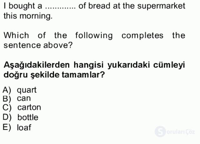 İngilizce III Tek Ders Sınavı 18. Soru
