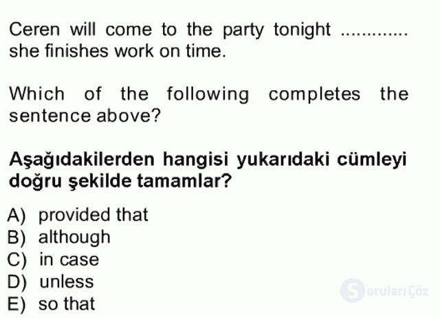 İngilizce III Tek Ders Sınavı 2. Soru