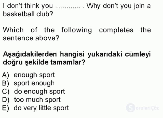 İngilizce III Tek Ders Sınavı 20. Soru