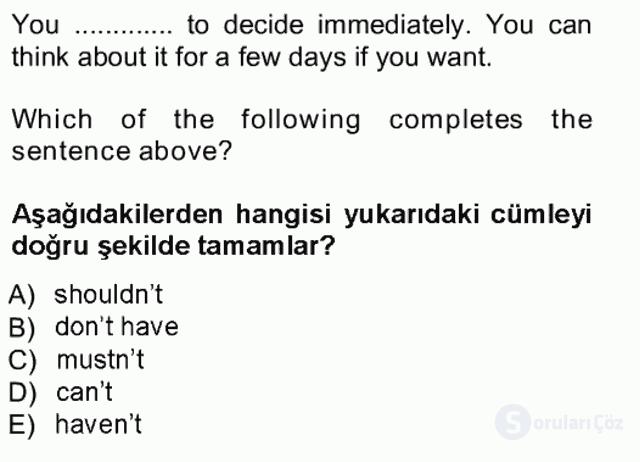 İngilizce III Tek Ders Sınavı 4. Soru