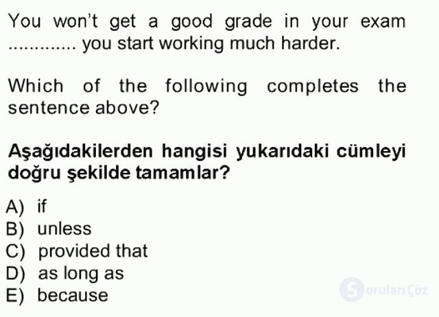 İngilizce III Tek Ders Sınavı 5. Soru