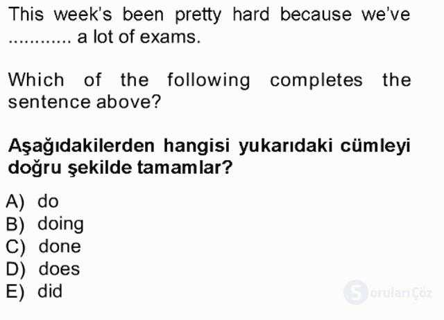 İngilizce III Tek Ders Sınavı 9. Soru