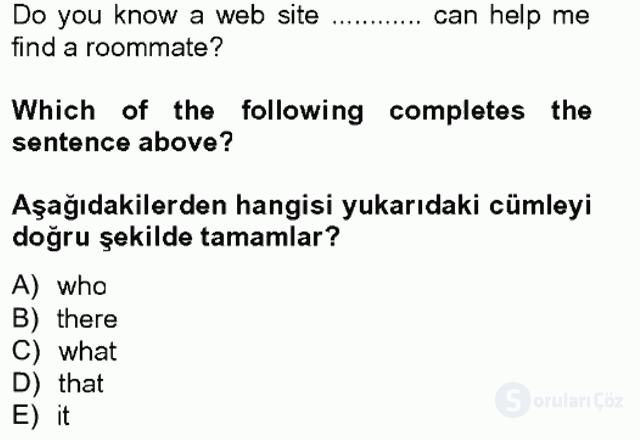 İngilizce IV Tek Ders Sınavı 1. Soru
