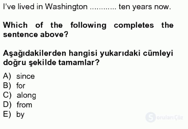İngilizce IV Tek Ders Sınavı 10. Soru