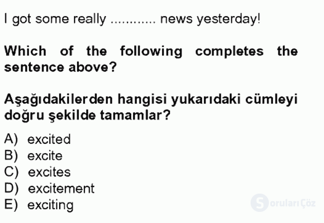 İngilizce IV Tek Ders Sınavı 12. Soru