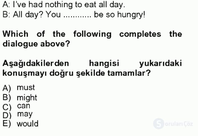 İngilizce IV Tek Ders Sınavı 13. Soru
