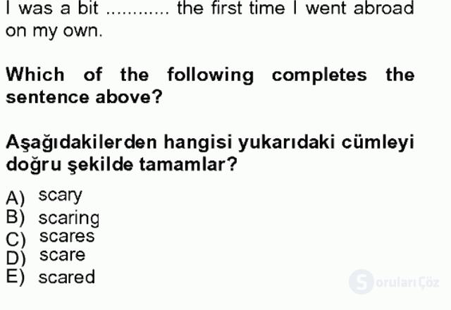 İngilizce IV Tek Ders Sınavı 14. Soru