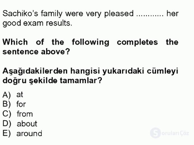 İngilizce IV Tek Ders Sınavı 15. Soru