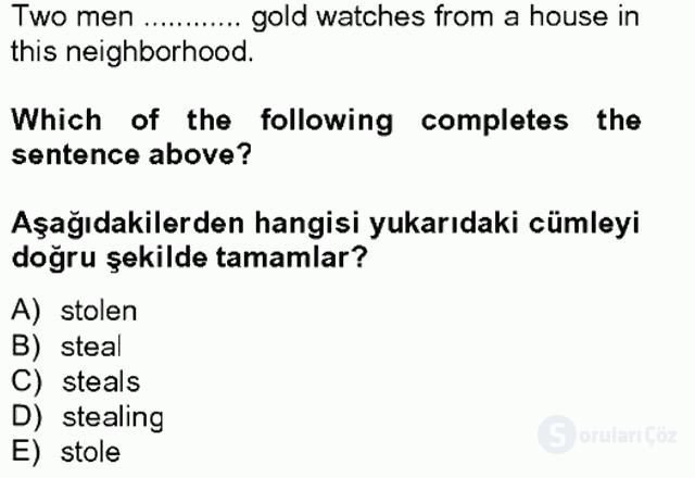 İngilizce IV Tek Ders Sınavı 16. Soru