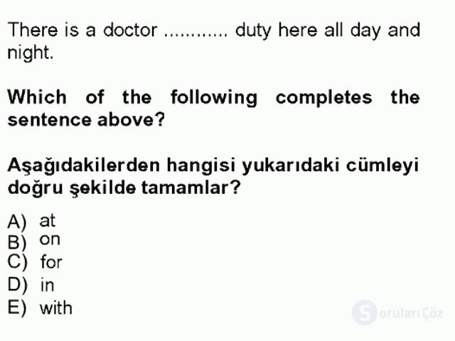 İngilizce IV Tek Ders Sınavı 17. Soru