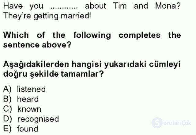 İngilizce IV Tek Ders Sınavı 18. Soru