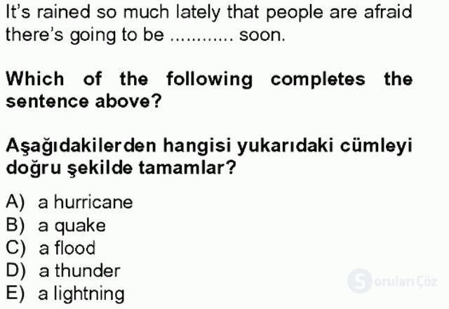 İngilizce IV Tek Ders Sınavı 19. Soru