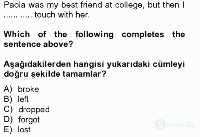 İngilizce IV Tek Ders Sınavı 2. Soru