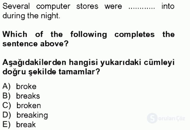 İngilizce IV Tek Ders Sınavı 20. Soru