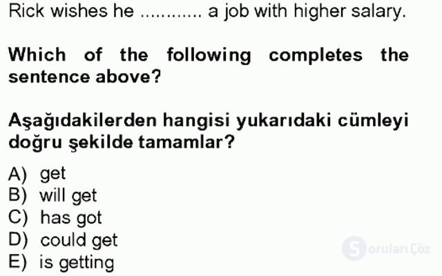 İngilizce IV Tek Ders Sınavı 4. Soru