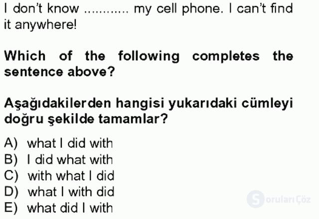 İngilizce IV Tek Ders Sınavı 5. Soru