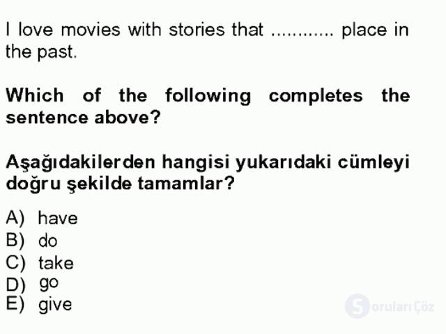 İngilizce IV Tek Ders Sınavı 6. Soru