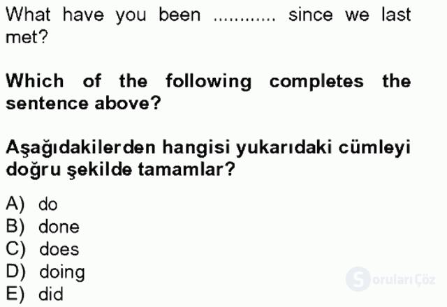 İngilizce IV Tek Ders Sınavı 7. Soru