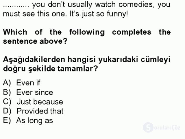 İngilizce IV Tek Ders Sınavı 8. Soru