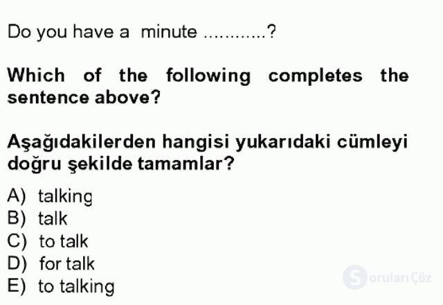 İngilizce IV Tek Ders Sınavı 9. Soru