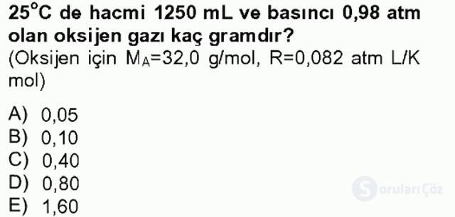 Genel Kimya II Tek Ders Sınavı 1. Soru