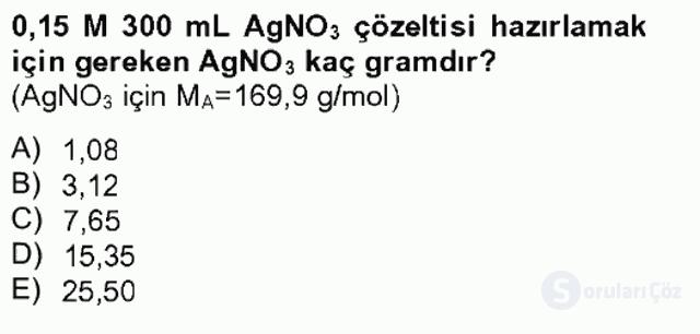 Genel Kimya II Tek Ders Sınavı 10. Soru