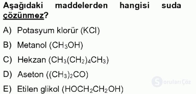 Genel Kimya II Tek Ders Sınavı 9. Soru