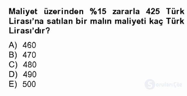 Finans Matematiği Bahar Dönemi Final 1. Soru
