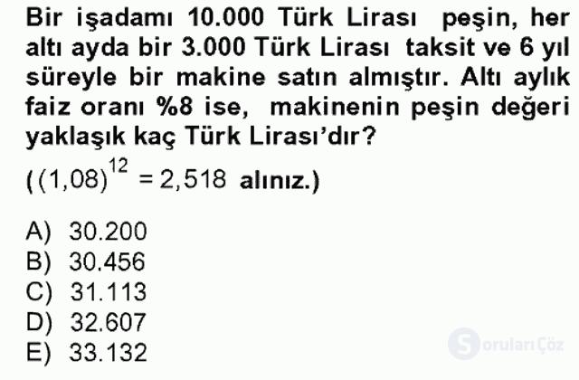 Finans Matematiği Bahar Dönemi Final 10. Soru
