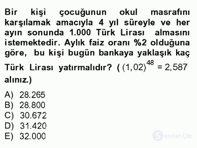 Finans Matematiği Bahar Dönemi Final 11. Soru