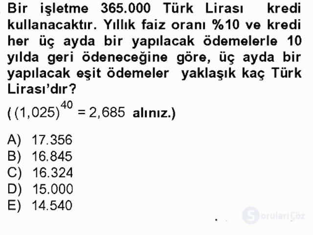 Finans Matematiği Bahar Dönemi Final 13. Soru
