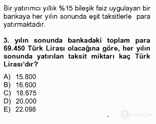 Finans Matematiği Bahar Dönemi Final 7. Soru
