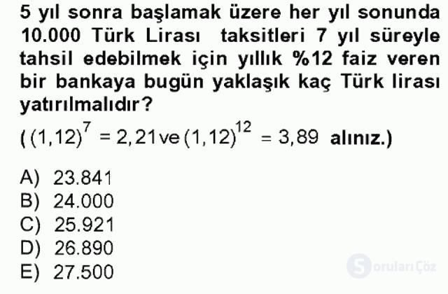 Finans Matematiği Bahar Dönemi Final 9. Soru