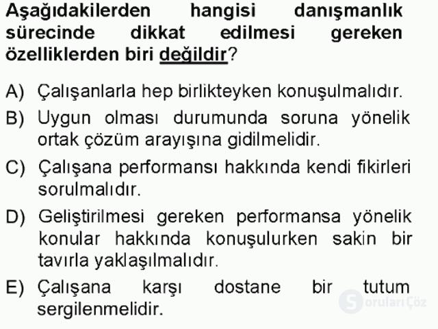 Performans ve Kariyer Yönetimi Tek Ders Sınavı 14. Soru