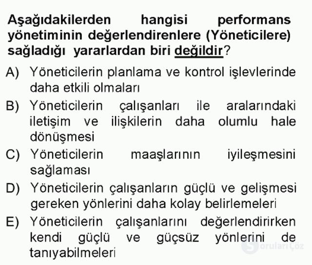 Performans ve Kariyer Yönetimi Tek Ders Sınavı 2. Soru
