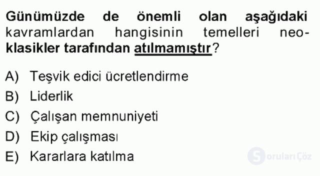 Yönetim Bilimi I Tek Ders Sınavı 18. Soru