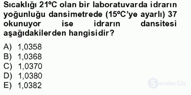 Veteriner Laboratuvar Teknikleri ve Prensipleri Tek Ders Sınavı 14. Soru