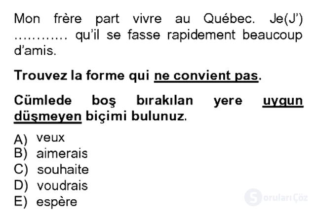 Fransızca II Bahar Dönemi Final 17. Soru
