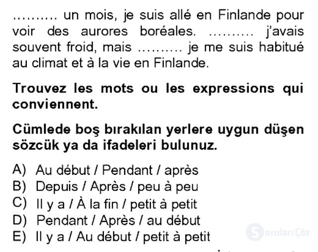Fransızca II Bahar Dönemi Final 7. Soru