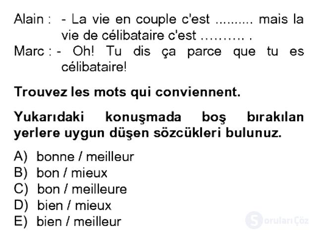 Fransızca II Bahar Dönemi Final 8. Soru