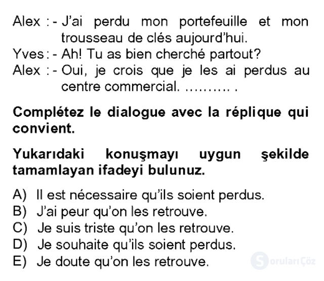 Fransızca II Bahar Dönemi Final 19. Soru
