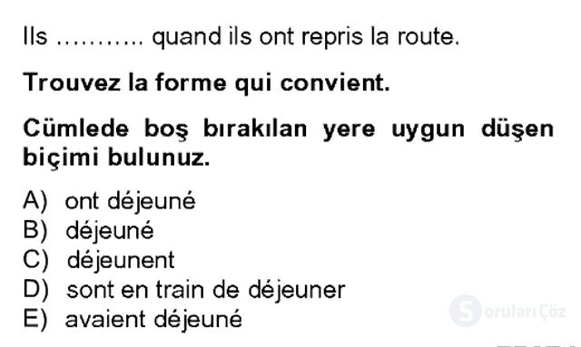 Fransızca II Bahar Dönemi Final 20. Soru