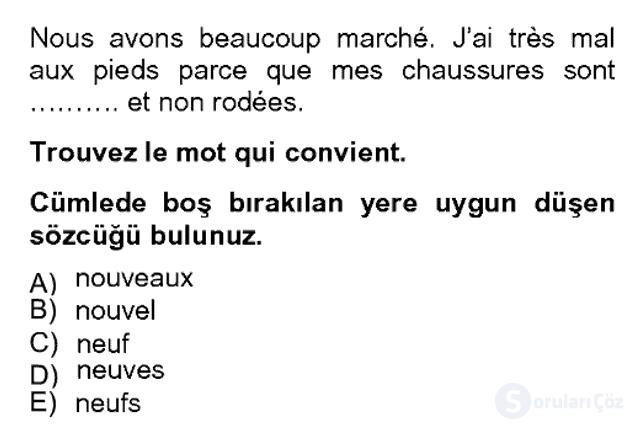 Fransızca II Bahar Dönemi Final 3. Soru