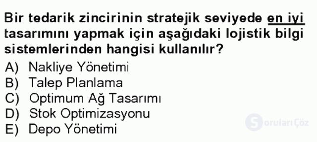 Uluslararası Lojistik Tek Ders Sınavı 11. Soru