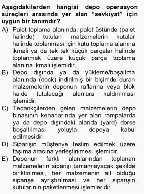Uluslararası Lojistik Tek Ders Sınavı 8. Soru