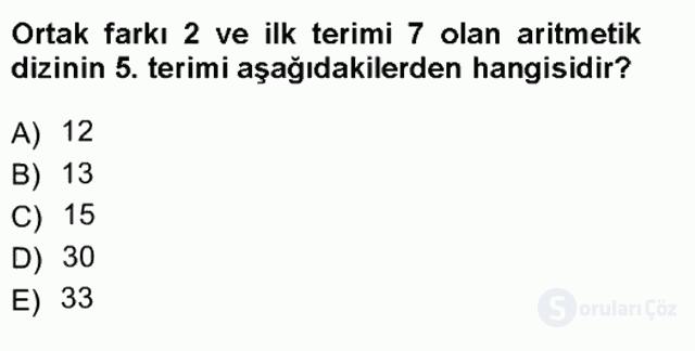 Genel Matematik Tek Ders Sınavı 11. Soru