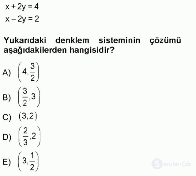 Genel Matematik Tek Ders Sınavı 13. Soru